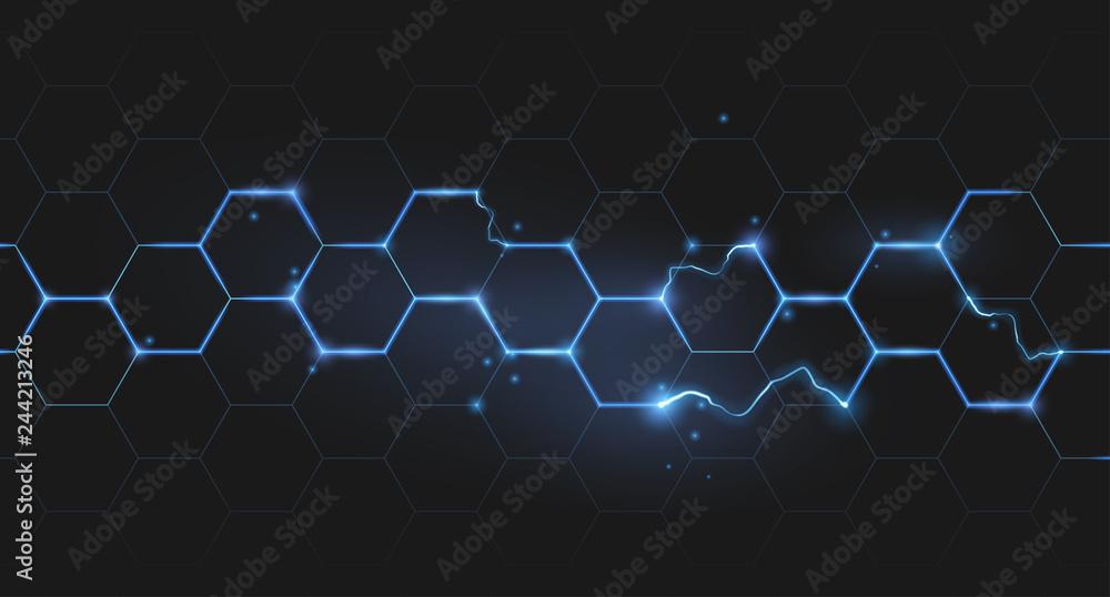Fototapety, obrazy: electric lightning honeycomb background
