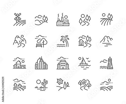 Fototapeta Simple Set of Landscape Related Vector Line Icons. Contains such Icons as Farm, Megapolis, Desert and more. Editable Stroke. 48x48 Pixel Perfect. obraz