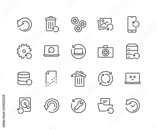 Cuadros en Lienzo Simple Set of Recovery Related Vector Line Icons