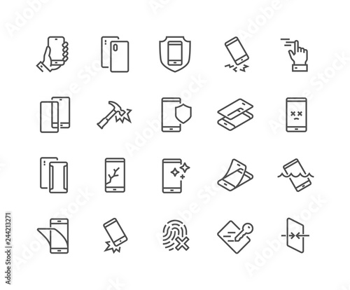 Fotografija Simple Set of Smartphone Protection Related Vector Line Icons