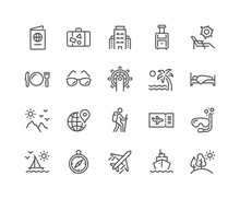 Simple Set Of Travel Related Vector Line Icons. Contains Such Icons As Luggage, Passport, Sunglasses And More. Editable Stroke. 48x48 Pixel Perfect.