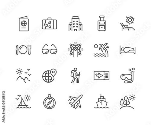 Fototapeta Simple Set of Travel Related Vector Line Icons. Contains such Icons as Luggage, Passport, Sunglasses and more. Editable Stroke. 48x48 Pixel Perfect. obraz