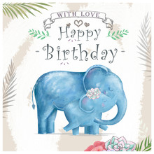 Watercolor Baby Elephant And Mother. Cute Elephants For Greeting Card, Birthday, Invite, Painting Clip Art On Floral Background