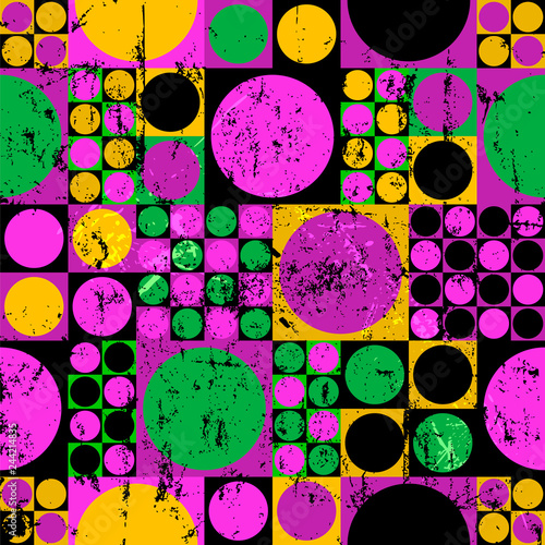 seamless abstract geometric background pattern,seventies retro/vintage style, with cirles and squares