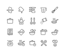 Simple Set Of Cooking Related Vector Line Icons. Contains Such Icons As Kitchen Utensils, Boiling And Frying Time, Cookbook And More. Editable Stroke. 48x48 Pixel Perfect.