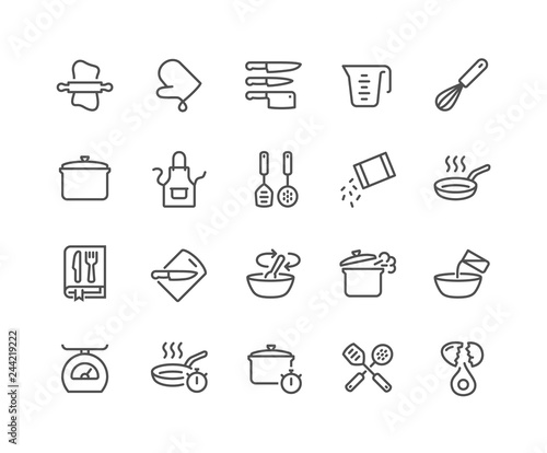 Fototapeta Simple Set of Cooking Related Vector Line Icons. Contains such Icons as Kitchen Utensils, Boiling and Frying Time, Cookbook and more. Editable Stroke. 48x48 Pixel Perfect. obraz