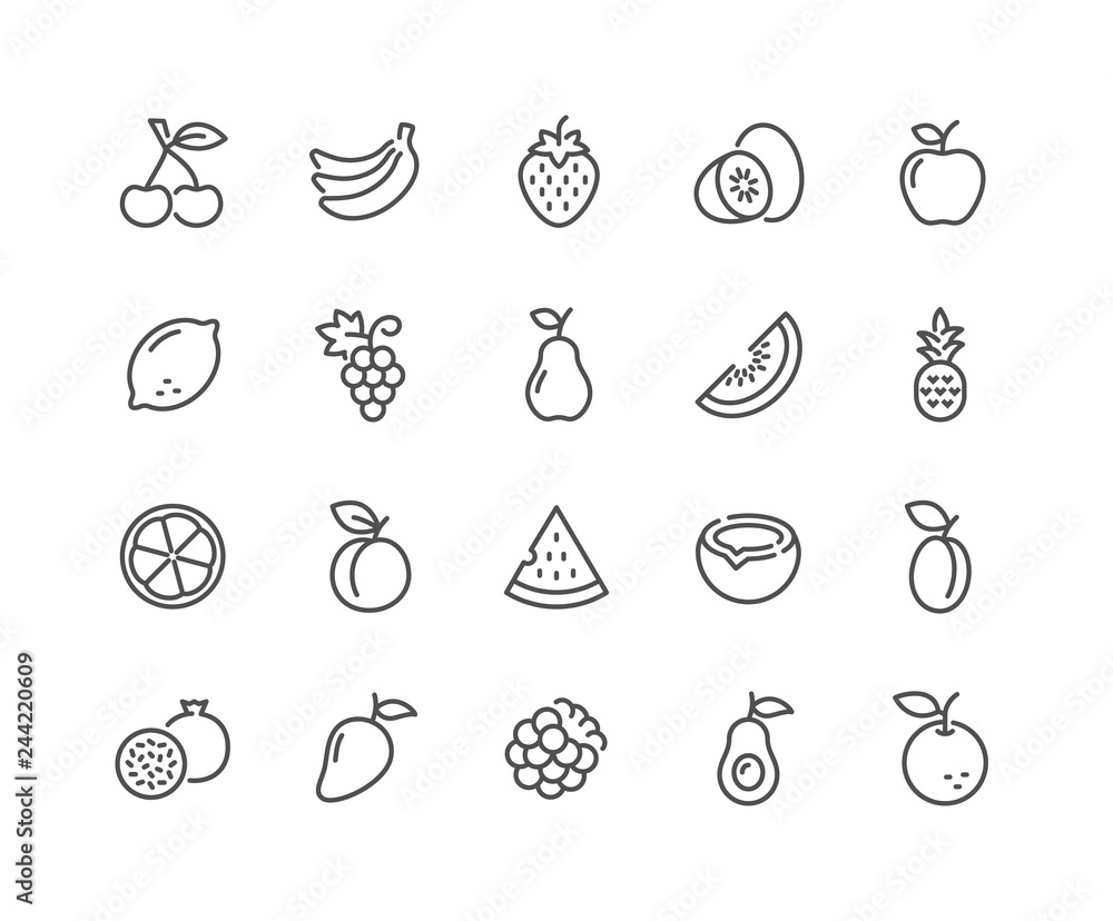 Fototapeta Simple Set of Fruits Related Vector Line Icons. Contains such Icons as Strawberry, Orange, Watermelon and more. Editable Stroke. 48x48 Pixel Perfect.