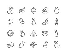 Simple Set Of Fruits Related V...