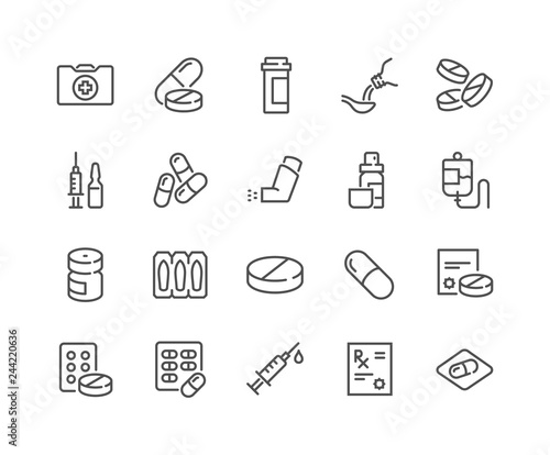 Simple Set of Medical Drugs Related Vector Line Icons Canvas Print