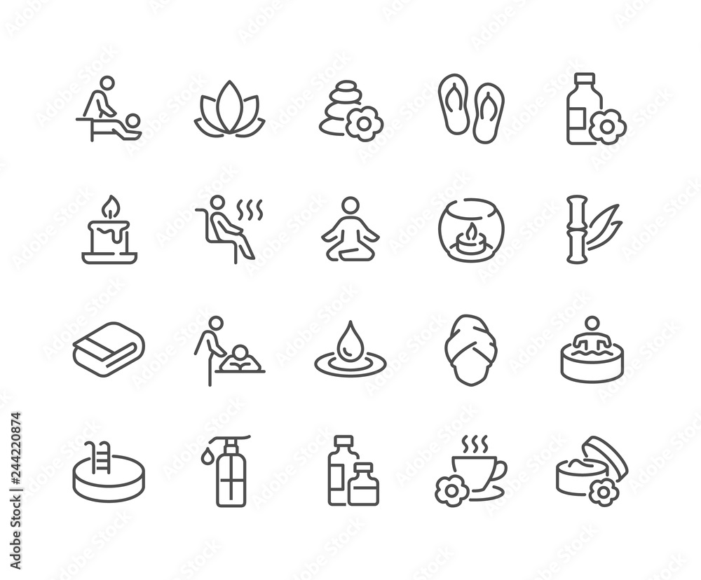 Fototapeta Simple Set of SPA Related Vector Line Icons. Contains such Icons as Massage, Candle, Sauna and more. Editable Stroke. 48x48 Pixel Perfect.