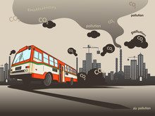 Thai Transportation Have Pollution ,city Have Air Pollution,bus Vector