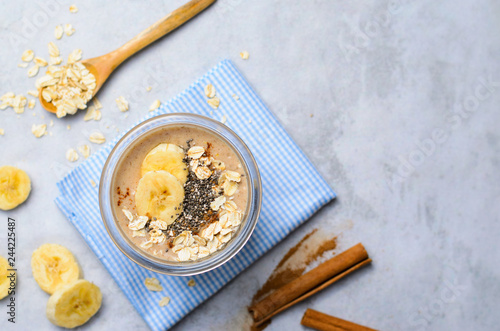 Banana Cinnamon Smoothie with Oats and Chia Seeds, Vegan Drink