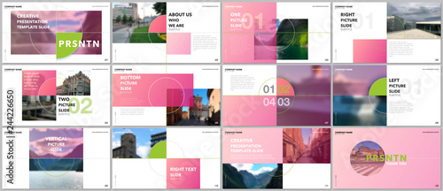 Foto  Minimal presentations design, portfolio vector templates with elements on white background