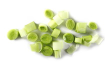 Fresh Sliced Leeks Isolated On White Background, Top View