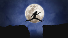 Woman Leaping - Moon