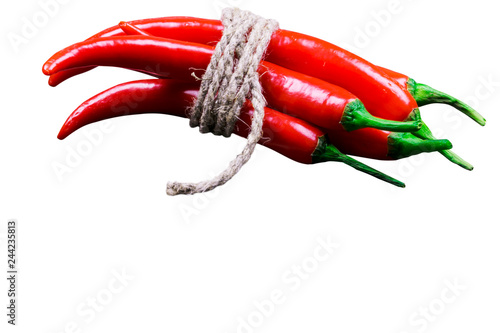 Cadres-photo bureau Hot chili Peppers Stack of Red hot chilli pepper isolated on white background.