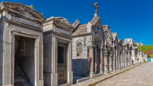 Paris, Montmartre Cemetery, Graves In The Alley, Sunny Day