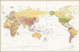World Map Retro Color Pacific Centred