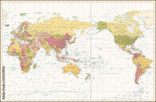 World Map Retro Color Pacific Centred Fototapet