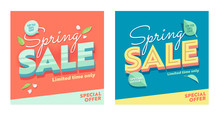 Spring Sale Abstract Square Banner Set. Discount Season Offer Super Price Poster. Business Hot Deal Bright Natural Coupon Design With Petal And Leaf For Holiday Flat Vector Illustration