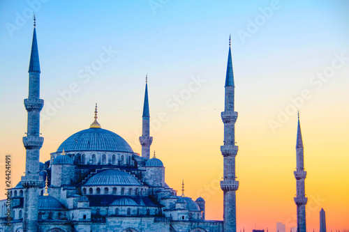 The Sultan Ahmed Mosque, or the Blue Mosque, in Istanbul, Turkey Canvas Print