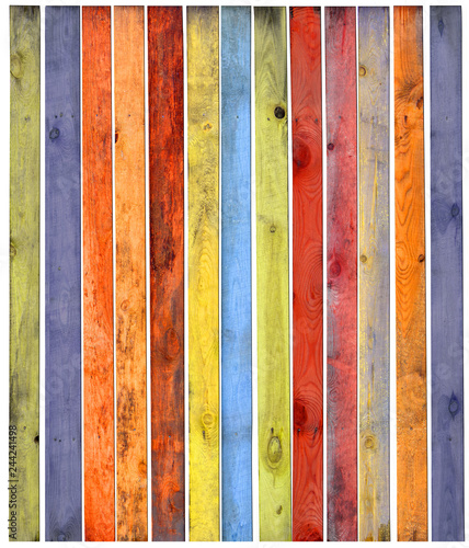 Fotografía  Multicolored wooden background with a wide range of saturated colors