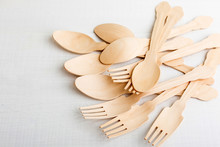 Disposable Tableware From Natural Materials, Wooden Spoon And Fork, Eco-friendly
