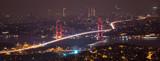 Bosphorus Bridge at night in Istanbul Turkey