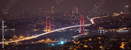 Tela Bosphorus Bridge at night in Istanbul Turkey
