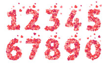 Pink Hearts Confetti Vector Valentines Day Numbers Set Isolated On White Background