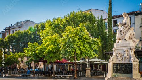 Pedro Calderon de la Barca famous Spanish dramatist, poet and writer of the Golden Age statue, monument at Plaza de Santa Ana or Saint Anne square, Madrid, Spain Wallpaper Mural