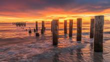 Sunset On Beach At Old Naples Pier, Florida USA