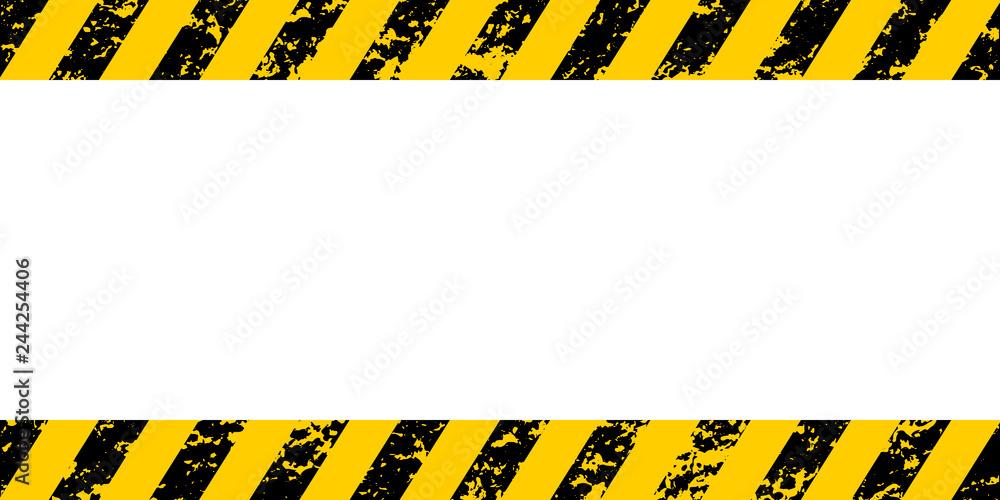 Fototapeta Warning frame yellow black diagonal stripes, vector grunge texture warn caution, construction, safety grunge background