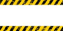Warning Frame Yellow Black Diagonal Stripes, Vector Grunge Texture Warn Caution, Construction, Safety Grunge Background