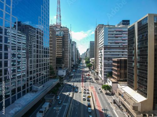 Aerial view of Paulista Avenue,  Sao Paulo, Brazil Fototapet