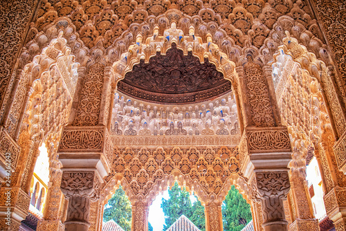 Detail of the royal palace Nazaries of the Alhambra, Granada, Andalucia, Spain Fototapet
