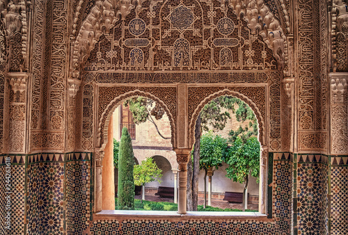 Detail of the royal palace Nazaries of the Alhambra, Granada, Andalucia, Spain