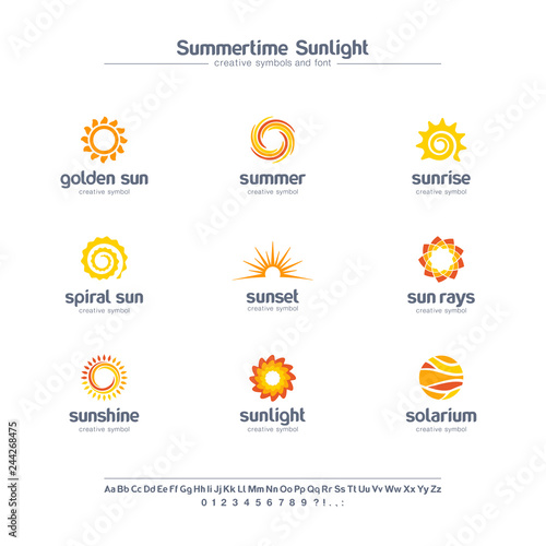 Obraz Summertime sunlight creative symbols set, font concept. Spiral sun rays, solarium abstract business logo. Summer sunrise, gold star icon. - fototapety do salonu