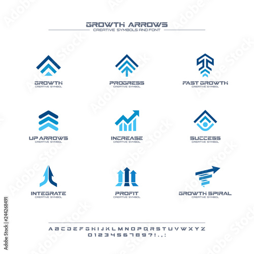 Photo Growth arrows creative symbols set, font concept