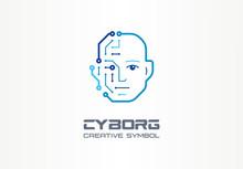 AI Robot Technology Creative Symbol Machine Concept. Digital Bionic Cyborg Face Abstract Business Future Logo. Smart Humanoid, Circuit Board Icon.