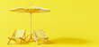 Leinwanddruck Bild - Beach umbrella with beach chairs on yellow background. summer vacation concept. 3d rendering