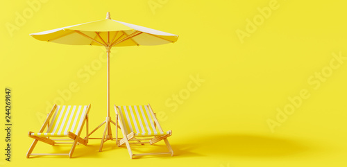 Beach umbrella with beach chairs on yellow background Fototapeta