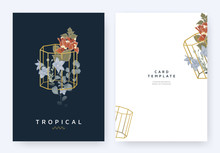 Minimalist Invitation Card Template Design, Tropical Plants And Bougainvillea, Platycodon Or Balloon Flowers In Golden Polygon Geometric Diamond Shape On Dark Blue Background, Pastel Vintage Style