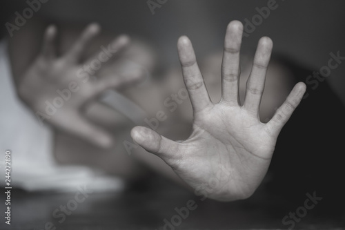 Fényképezés  Stop Sexual abuse Concept, stop violence against Women, international women's day, The concept of sexual harassment against women and rape