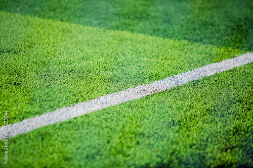 white side lind on green artificial turf for background Canvas Print