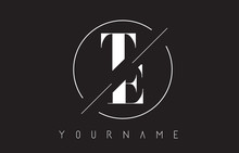 TE Letter Logo With Cutted And Intersected Design