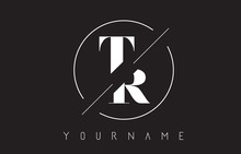 TR Letter Logo With Cutted And...