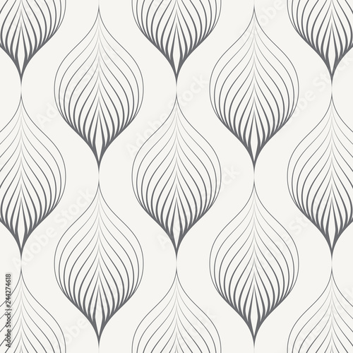 linear vector pattern, repeating linear abstract leaves on garland Wallpaper Mural