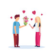 man giving woman flowers bouquet happy valentines day celebration concept couple in love over heart shapes male female full length profile characters isolated flat