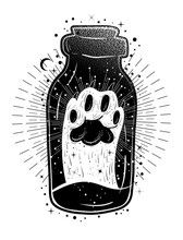 Magic Potion: Bottle Jar With Cat's Paw Inside. Tattoo Art Style Illustration. Bohemian And Gypsy Motifs.